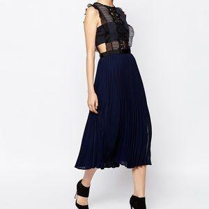 SELF PORTRAIT Lace Pleated Midi Dress